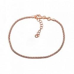 Pulsera plata Ley 925m. rosa cadena coreana [AA4373]