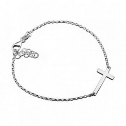 Pulsera plata Ley 925m. cruz 11x21mm. brillo [AA4378]