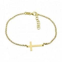 Pulsera plata Ley 925m. dorada cruz 20mm. brillo [AA4379]