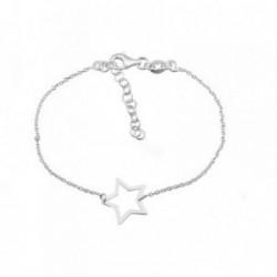 Pulsera plata Ley 925m. rodiada estrella calada brillo [AA4427]