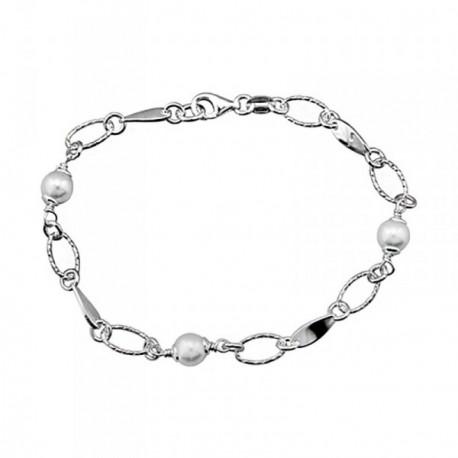 Pulsera plata Ley 925m. rodiada perlas ovales brillo [AA4495]