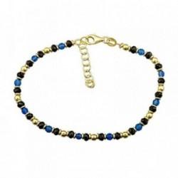Pulsera plata Ley 925m. dorada piedra azul bolas [AA4496]