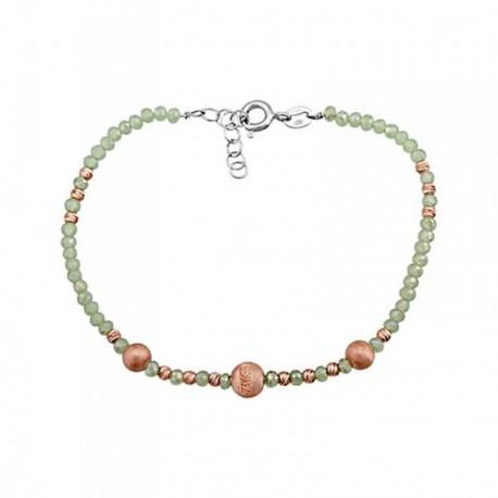 Pulsera plata Ley 925m. rodiada piedras verdes bolas rosas [AA4504]