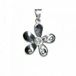 Colgante plata Ley 925m flor 5 pétalos liso calado [848]