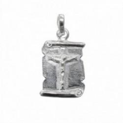 Colgante plata Ley 925m chapa pergamino con Cristo crucifijo [1185]