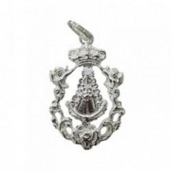 Colgante plata Ley 925m Virgen del Rocio Silueta escudo calado [1284]