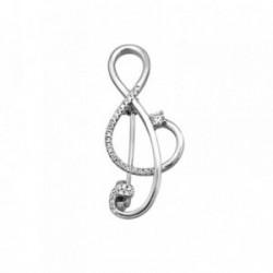Alfiler plata Ley 925m. rodiada nota musical circonitas [AA2816]