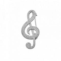 Alfiler plata Ley 925m. rodiada nota musical circonitas [AA2817]