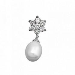 Colgante plata Ley 925m. rodiada perla 11x9mm. cuajo [AA2850]