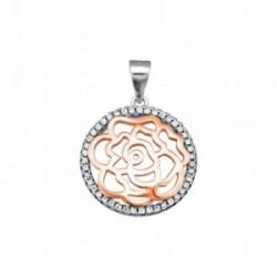 Colgante plata Ley 925m. rosa flor 18mm. cerco circonitas [AA2871]