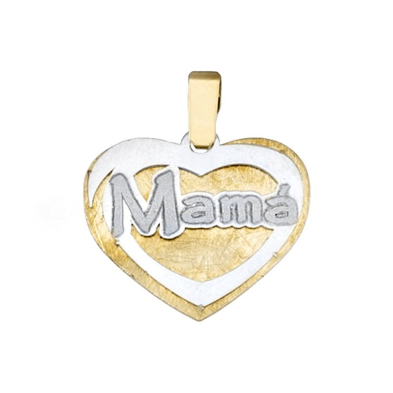 888e84f528db Colgante oro 18k bicolor corazón MAMÁ  AA4705