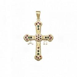 Cruz oro 18k Covadonga asturiana piedras color [AA4948]