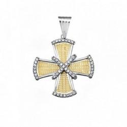 Cruz oro 18k bicolor circonitas [AA4951]