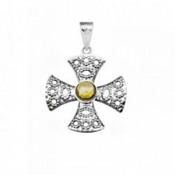 Cruz oro blanco 18k calada centro piedra olivina [AA4952]