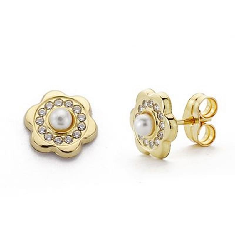 b54c31736298 Pendientes oro 9k flor 8mm. circonitas centro perla niña cierre presión
