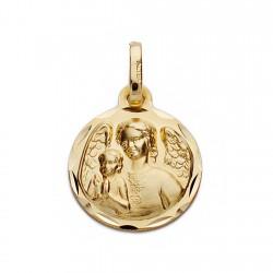Medalla oro 18k ángel de la guarda 14mm. [AA0615]