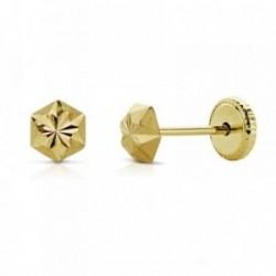 Pendientes oro 18k clavo estrella 4mm. tallados niña cierre tuerca