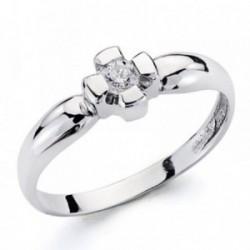 Solitario oro blanco 18k diamante brillante 0.1ct pedidas [AA7255]