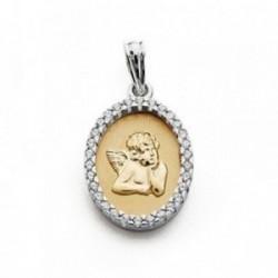 Medalla oro 18k bicolor Querubín 20mm. oval circonitas [AA7269]