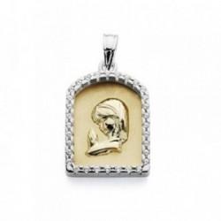 Medalla oro 18k bicolor Virgen Niña 21mm. capilla circonitas [AA7270]