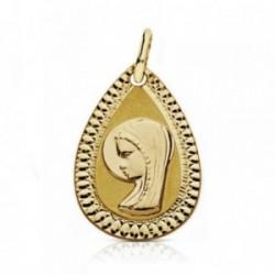 Medalla oro 18k Virgen Niña 20mm. lágrima tallada [AA7271]