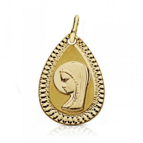 Medalla oro 18k Virgen Niña 20mm. lágrima tallada [AA7271GR]