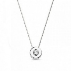 Colgante gargantilla oro blanco 18k 41.5cm diamante 0.065ct [AA7292]