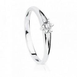 Solitario oro blanco 18k diamante brillante 0.15ct pedidas [AA7296]