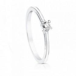 Solitario oro blanco 18k diamante brillante 0.10ct pedidas [AA7297]