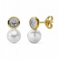 Pendientes oro 18k bicolor perla 12x6mm. circonitas [AA7321]