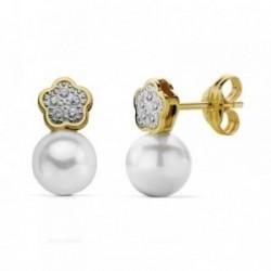 Pendientes oro 18k bicolor perla 12x6mm. circonitas [AA7324]