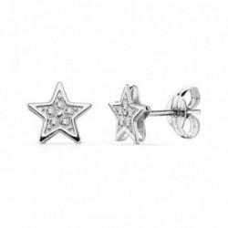 Pendientes oro blanco 18k estrella 6.5mm.  [AA7325]