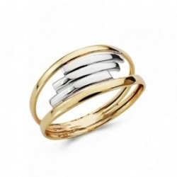 Sortija oro 18k bicolor bandas centrales blanco [AA7346]