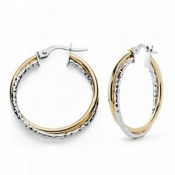 Pendientes oro 18k bicolor aros dobles 24mm. [AA7389]