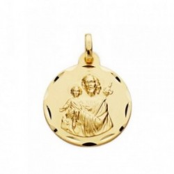 Medalla oro 18k San José 19mm. tallada [AA7395]