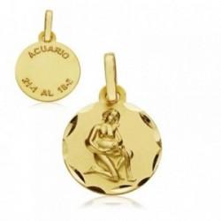 Medalla oro 18k horóscopo Acuario 13mm. signo zodiaco [AA7396]