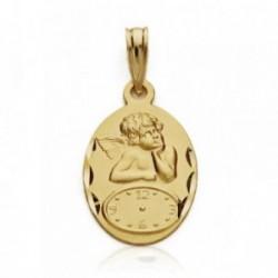 Medalla oro 18k ángel Querubín reloj 19mm. bebé hora nacimiento oval detalles tallados