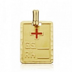 Colgante oro 18k placa grupo sanguíneo RH cruz roja 20mm. [AA7425]