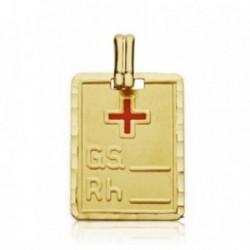 Colgante oro 18k placa grupo sanguíneo RH cruz roja 20mm. [AA7425GR]