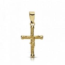Cruz crucifijo oro 9k 19mm. palo rugoso grueso chatones [AA7483]