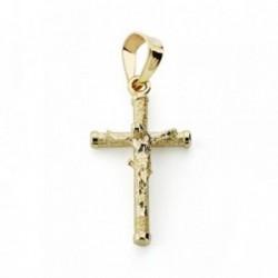 Cruz crucifijo oro 9k 19x10.5mm. palo rugoso fino chatones [AA7484]