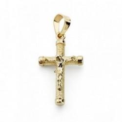 Cruz crucifijo oro 9k 19x11mm. palo rugoso fino chatones [AA7485]