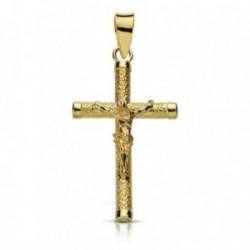 Cruz crucifijo oro 9k 24mm. palo rugoso fino chatones [AA7486]