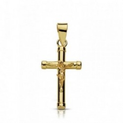 Cruz crucifijo oro 9k 18mm. sencilla chatones [AA7488]