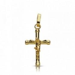 Cruz crucifijo oro 9k 17mm. achatada chatones [AA7489]