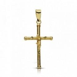 Cruz crucifijo oro 9k 23mm. palo tallado chatones [AA7492]