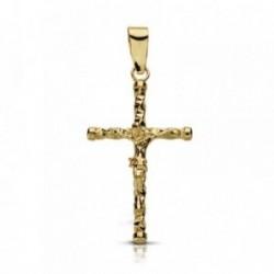 Cruz crucifijo oro 9k 24mm. tallada chatones [AA7493]