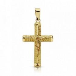 Cruz crucifijo oro 9k 24mm. palo grueso tallado chatones [AA7494]