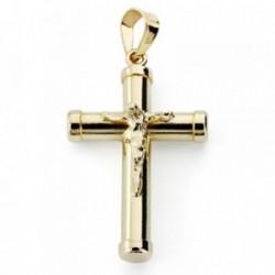 Cruz crucifijo oro 9k 24mm. palo liso chatones [AA7496]