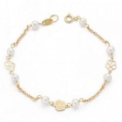 Pulsera oro 9k perlas 4-4.5mm. mariposas 17cm. [AA7501]